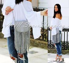 ZARA FRINGED MESSANGER BAG GREY LEATHER HANDBAG WITH FRINGES SHOULDER CHAIN BAG