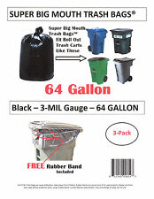 64 Gallon Roll Cart Trash Bags Super Big Mouth Bags® FREE SHIPPING 3-MIL - 3-Pk