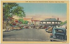Main Street and Railroad Station in Hyannis Cape Cod MA Postcard