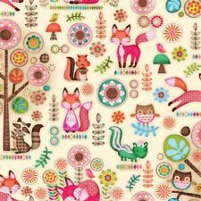 Fat Quarter Friendly Forest Animal Woodland Critters Cotton Quilting Fabric SPX