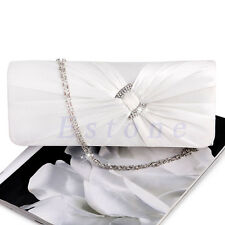 Women's Bling Rhinestone Bridal Shoulder Clutch Bag Chain Evening Handbag Purse