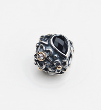 "Genuine Pandora two tone Charm ""Black Onxy and Diamond Flower"" 790540O -retired"