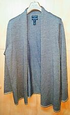 CYNTHIA ROWLEY Womens plus sz 3X Cardigan Sweater Shrug Brown Merino Cheveron