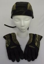 Harley Davidson Womens Skull Cap & Gloves Black Leather Snakeskin Pattern Trim