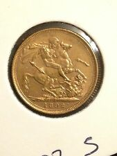 1892 'S' Sovereign Queen Victoria Jubilee Head Gold coin St George Reverse