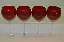 "Lenox Holiday Gems 4 Ruby Red Balloon Goblets 8 3/4"" MINT Wine glasses BOXED"