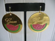 Vintage Guess Enameled Goldtone Metal Watermelon Disk Wire Pierced Earrings