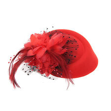 Flower Red Mini Pillbox Hat Hair Clip Feather Fascinators Headpieces Hairband