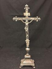 Crucifix Ancien Bronze Argenté Croix XVIII Reliquaire French Cross Reliquary Lys
