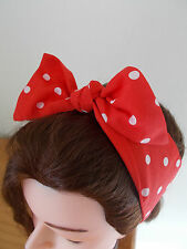 Tête écharpe cheveux bande rouge à pois bunny self tie bow rockabilly pin up new