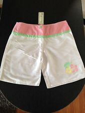 BNWT Girls Sz 12 Ozemocean Girls Brand White/Pink Swimming Longer Board Shorts