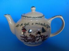 Christmas Teapot It Took A Miracle Yesteryears  Pottery Marshall Texas TX 5 Cup