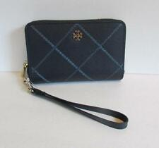 Tory Burch Robinson Stitched  Smartphone Wallet wristlet Navy Comet leather blue