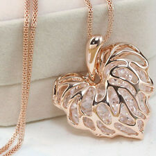 Women Gold Plated Heart Pendant Long Chain Necklace Jewelry nEW