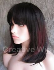 Medium Black & Burgundy Red Two Toned Straight Hair Wig Wigs (FV0497 1B-33-30)