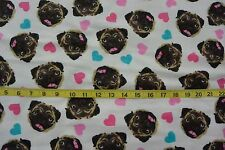 I Love My Pug Dog Faces Toss Allover Cotton Flannel Fabric BTY
