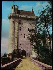 Glass Magic Lantern Slide CHINON CASTLE & CLOCK TOWER C1900 PHOTO FRANCE