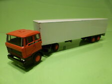 LION CAR 58 36 DAF 2800 TRUCK + EUROTRAILER - ORANGE WHITE 1:50 - GOOD CONDITION