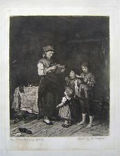 ETCHING A PEASANT FAMILY W.UNGER AFTER M MUNKACSY CIRCA 1920
