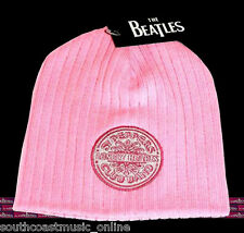 THE BEATLES SERGEANT PEPPERS BEATLES RIBBED KNIT BEANIE - PINK.