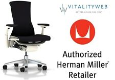 Herman Miller Embody Office Chair White Frame Titanium Base Black Rhythm Fabric
