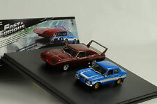 Movie Fast & and Furious 6 / 2 car Set Escort Charger Daytona 1:43 Greenlight