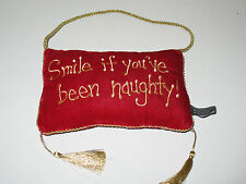 Smile if You've Been Naughty Red Velvet Hanging Pillow