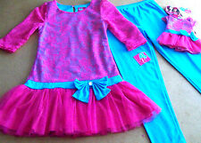 WHAT A DOLL 3PC PINK & BLUE LEGGINGS OUTFIT (7-8) ++ set for AMERICAN GIRL DOLL
