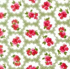 Rose and Hubble Green with Red Flowers, 100% Cotton Fabric - By the Half Metre