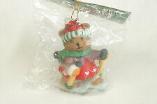 Vintage Porcelain Skiing Bear Christmas Ornament Holiday Tree Decoration 3x2