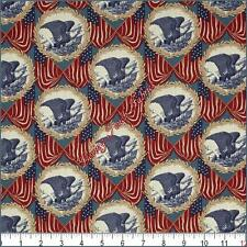 "WINDHAM ""LET FREEDOM RING"" PATRIOTIC EAGLES FLAGS COTTON FABRIC PRICED @ 1/2 YD"