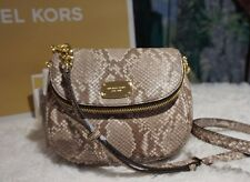 NWT Michael Kors BEDFORD Small Flap Crossbody Bag Embossed Leather COCOA $178