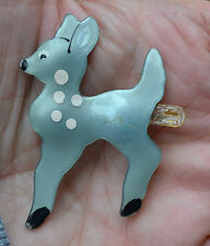 PRETTY VINTAGE EARLY 1900'S CELLULOID BLUE DEER, SPOTTED FAWN BROOCH, PIN