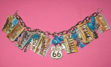 """VINTAGE POSTCARDS FROM ROUTE 66""-CHARM BRACELET -ONE OF A KIND  HAND MADE"