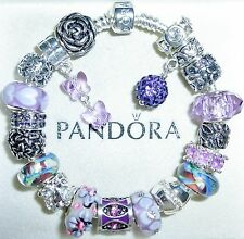 "Authentic Pandora Bracelet with European Charms ""Violet Butterfly""  Size 7.9"