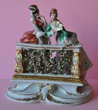 Extreme Rare Capodimonte Dresden Lace Porcelain Figural Figurine Group Mask Fan