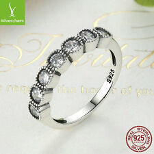 AUTHENTIC 925 Silver Pave CZ Alluring Cushion Ring For Women Christmas Jewelry