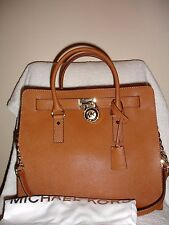 MICHAEL KORS Hamilton LARGE North South Leather Satchel Handbag in Luggage