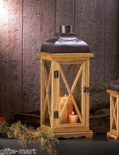 "large 20"" tall brown wood metal Candle holder Lantern Lamp terrace outdoor patio"