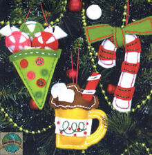 Felt Embroidery Kit ~ Dimensions Sweet Treats Christmas Ornaments #72-08185