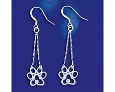 Sterling Silver I Love My Dog Paw Print Earrings CZ Puppy Dangle Solid 925 Italy