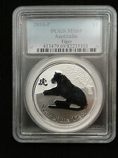 2010 1oz .999 Fine Silver Australian Lunar Year of the Tiger Coin PCGS MS69