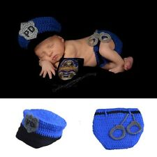 Newborn Baby Boy Girl Photo Props Crochet Police Hat Outfit Costume Set  (199