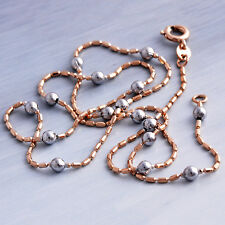 "17.5"" Long Necklace Vintage Jewelry Silver Bead Necklace Womens Rose Gold Filled"