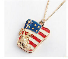 The USA Flag the Statue of Liberty Stars Pendant Sweater Necklace Chain