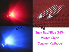 50, 3mm Dual Bi-Color Red/Blue 3-Pin Water Clear Led Common Cathode Leds Light