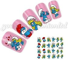 NAIL Art Water Trasferimenti Adesivi decalcomanie il CARTOON PUFFI (C56)