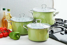 HIGH QUALITY 6 pc Pot Set ENAMEL POTS Casserole Cookware Green FUSION FRESH