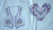 NEW Uncut Elegant Thinking of You Purple Flower Vest Fabric Panel w/ Appliques