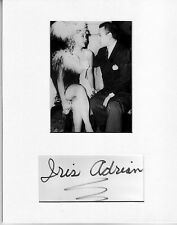 Iris Adrian Signed matted with photo 8x10 COA-3/16